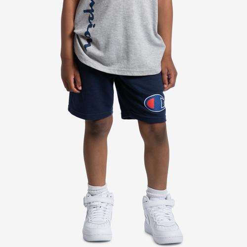 Left Side View of Champion Boy's French Terry Logo Shorts