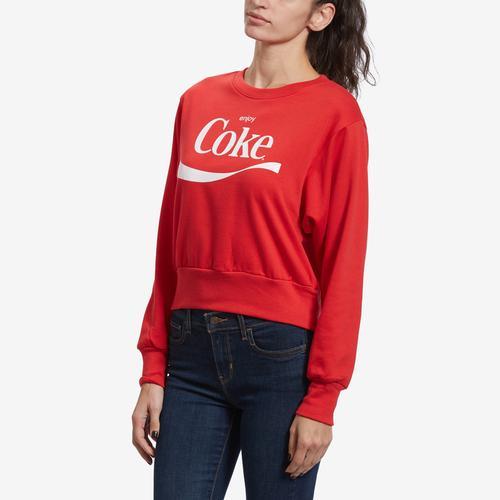 Front View of Freeze Women's Coca Cola Crop Sweatshirt