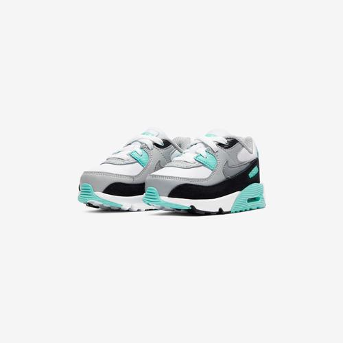 Side Angle View of Nike Boy's Toddler Air Max 90 Leather Sneakers