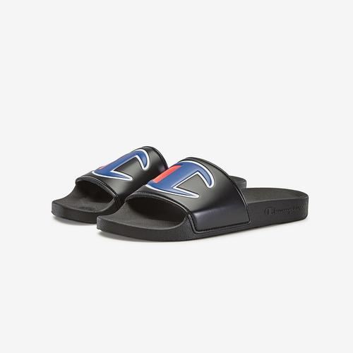 Champion Boy's Grade School Life Slide Sandals, Repeating Logo