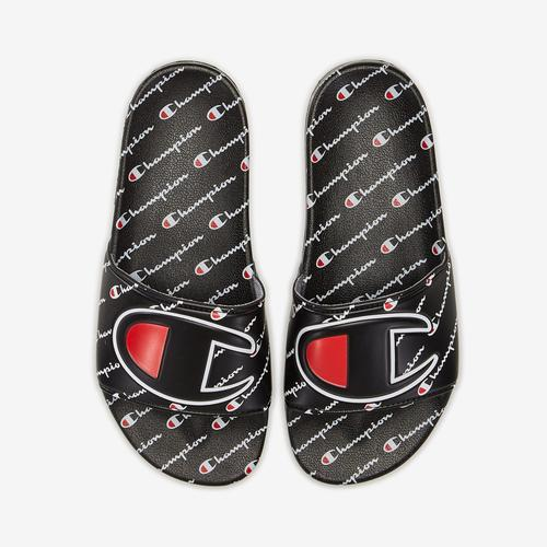 Left Side View of Champion Boy's Grade School Life Slide Sandals, Repeating Logo Sneakers