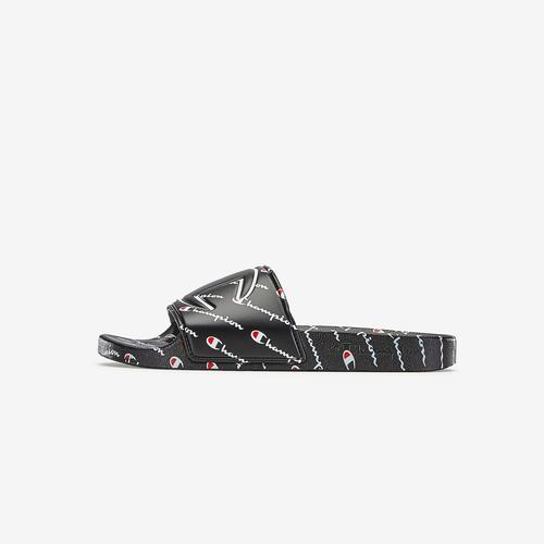 Bottom View of Champion Boy's Grade School Life Slide Sandals, Repeating Logo Sneakers