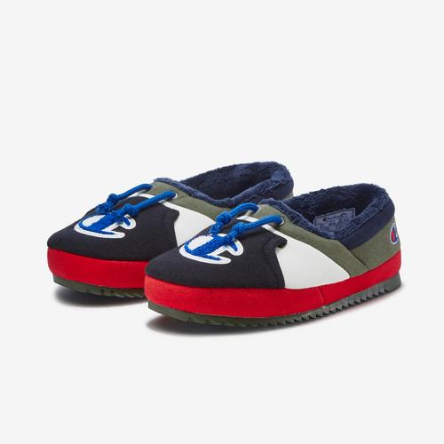 Side Angle View of Champion Boy's Grade School Life University Slippers Sneakers