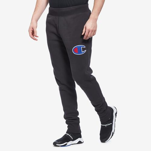 Front View of Champion Men's Life Reverse Weave Joggers, Oversized Script