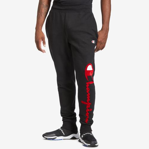 Front View of Champion Men's Life Reverse Weave Joggers, Oversized Script Pants