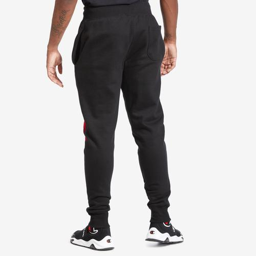 Back View of Champion Men's Life Reverse Weave Joggers, Oversized Script Pants