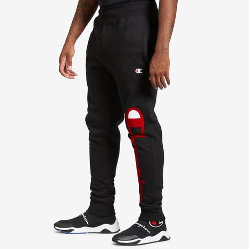 Left Side View of Champion Men's Life Reverse Weave Joggers, Oversized Script Pants