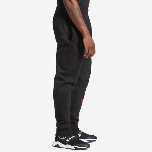 Right Side View of Champion Men's Life Reverse Weave Joggers, Oversized Script Pants
