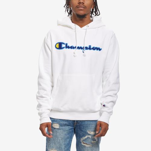 Front View of Champion Men's Life Reverse Weave Chenille Logo Pullover Hoodie