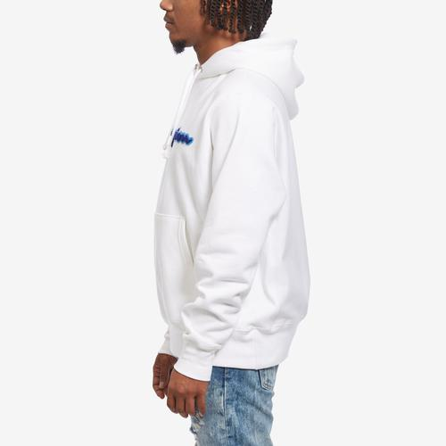 Left Side View of Champion Men's Life Reverse Weave Chenille Logo Pullover Hoodie