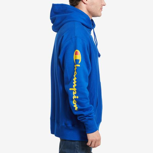 Right Side View of Champion Men's Reverse Weave Arm Script Hoodie