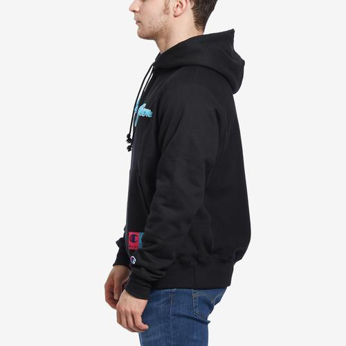 Right Side View of Champion Men's Life Reverse Weave Chenille Logo Pullover Hoodie