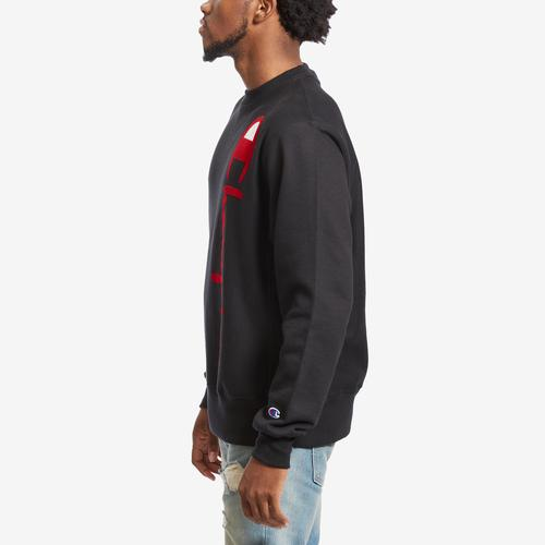 Left Side View of Champion Men's Life Reverse Weave Crew, Oversized Script