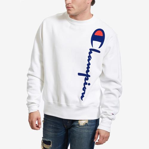 Front View of Champion Men's Life Reverse Weave Crew, Oversized Script