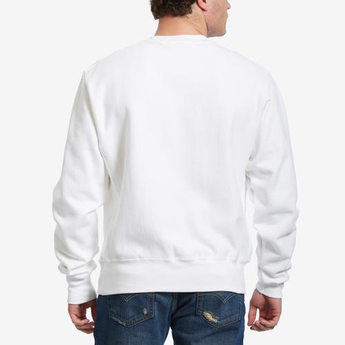 Back View of Champion Men's Life Reverse Weave Crew, Oversized Script