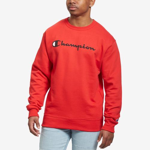 Front View of Champion Men's Powerblend Script Crew Sweatshirt