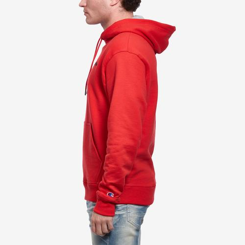 Right Side View of Champion Men's Powerblend Fleece Pullover Hoodie, Script Logo