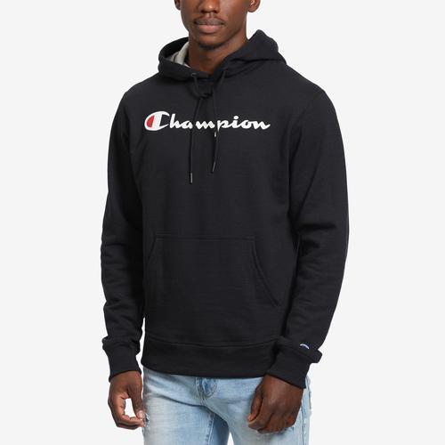 Front View of Champion Men's Powerblend Fleece Pullover Hoodie, Script Logo