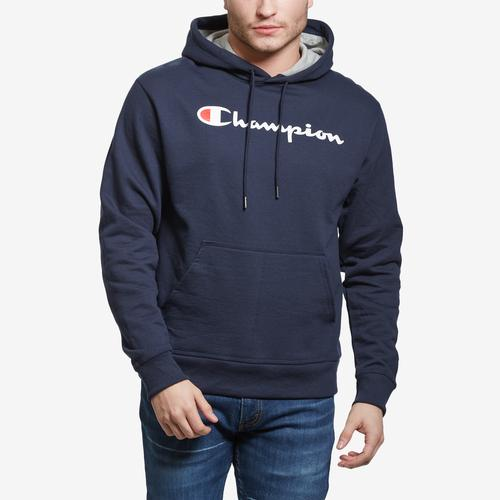 Front View of Champion Powerblend Fleece Pullover Hoodie, Script Logo