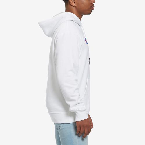 Left Side View of Champion Men's Powerblend Fleece Pullover Hoodie, Script Logo