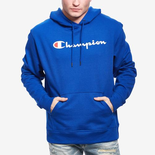 Front View of Champion Men's Powerblend Fleece Pullover Hoodie, Script Logo