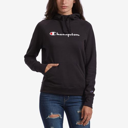 Front View of Champion Women's Graphic Powerblend Hoodie