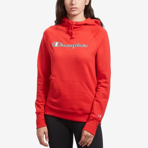 Front View of Champion Women's Applique Powerblend Hoodie