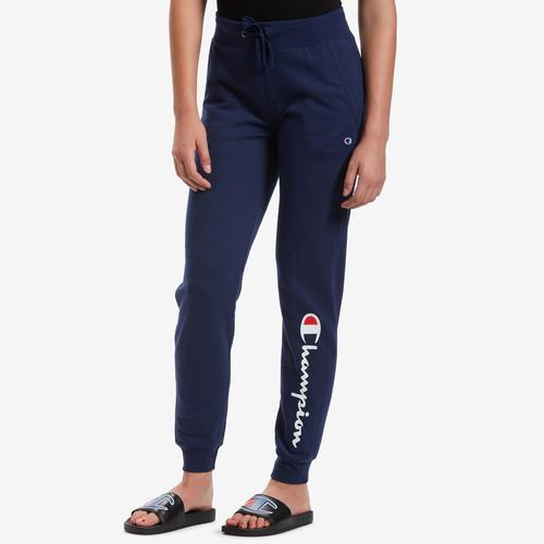 Front View of Champion Women's Powerblend Fleece Joggers, Vertical Logo