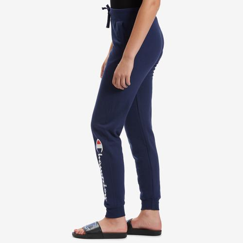 Left Side View of Champion Women's Powerblend Fleece Joggers, Vertical Logo