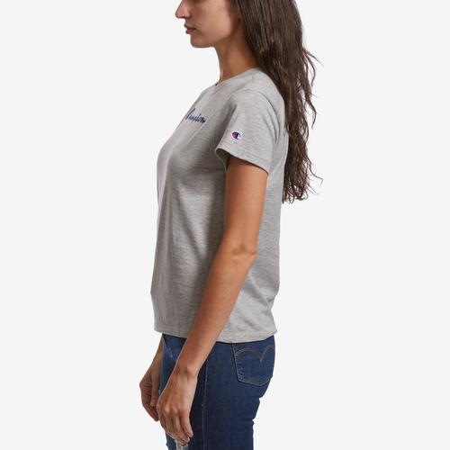 Left Side View of Champion Women's Graphic Jersey Short Sleeve T-Shirt