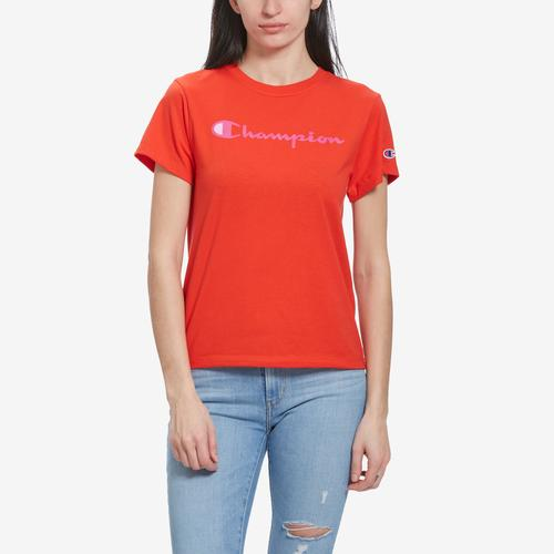 Front View of Champion Women's Graphic Jersey Short Sleeve T-Shirt