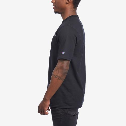 Right Side View of Champion Men's Life Tee, Embroidered Script Logo