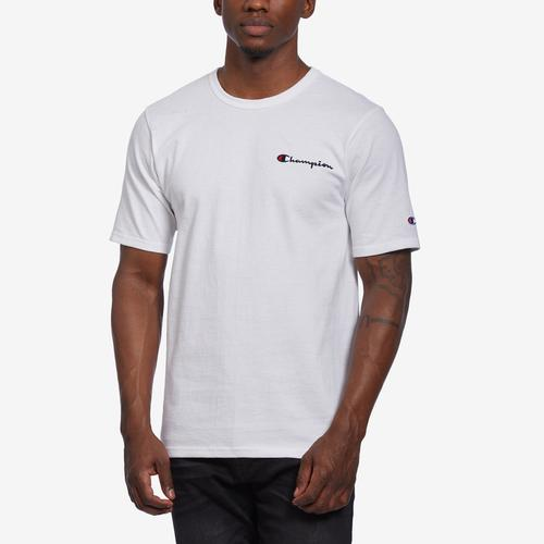 Front View of Champion Men's Life Tee, Embroidered Script Logo