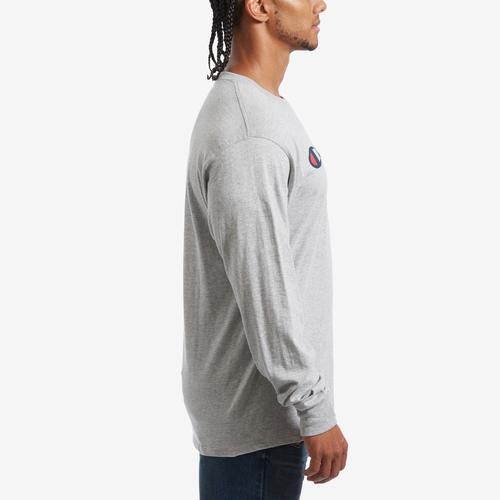 Right Side View of Champion Men's Cotton Jersey Long-Sleeve Tee, Script Logo