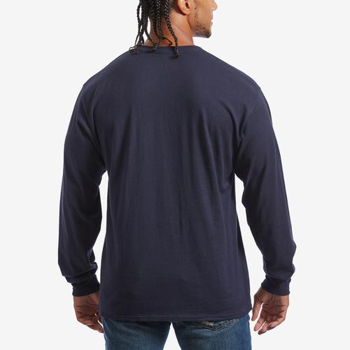 Back View of Champion Men's Cotton Jersey Long-Sleeve Tee, Script Logo