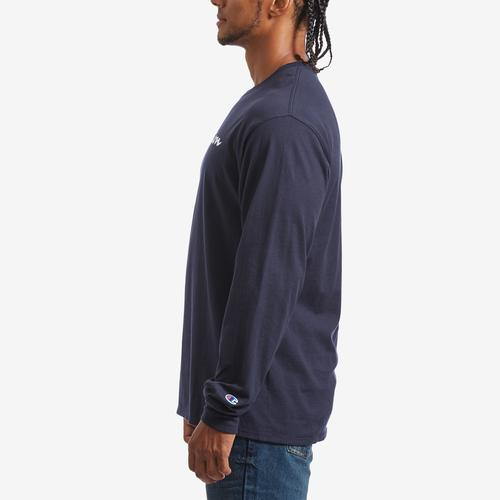 Left Side View of Champion Men's Cotton Jersey Long-Sleeve Tee, Script Logo
