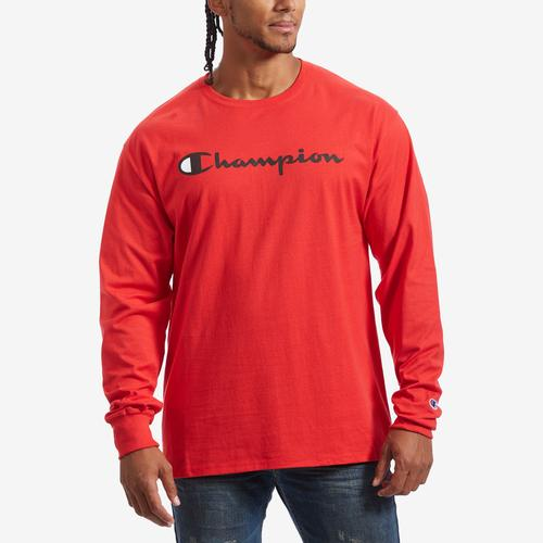 Front View of Champion Men's Cotton Jersey Long-Sleeve Tee, Script Logo