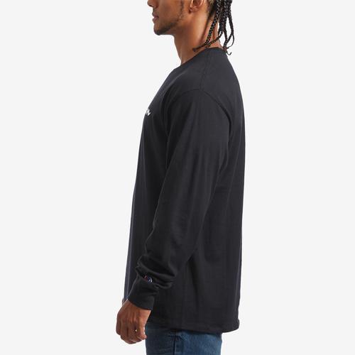 Left Side View of Champion Men's Cotton Jersey Long-Sleeve Tee, Script Logo