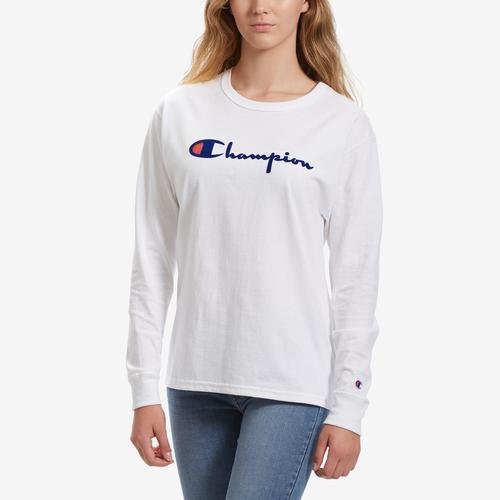 Front View of Champion Women's Original Long Sleeve Tee