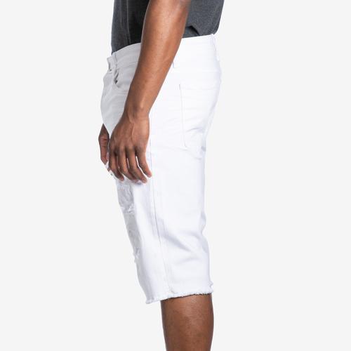 Left Side View of Jordan Craig Men's Desperado Distressed Denim Shorts