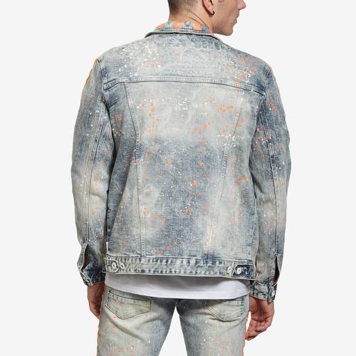 Smoke Rise Men's Denim Jacket With Stripes