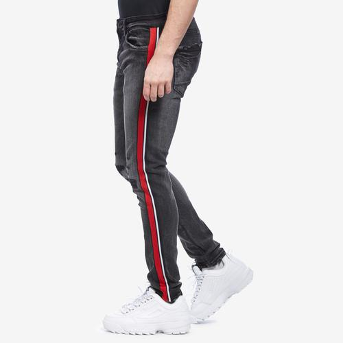 Left Side View of Jordan Craig Men's Sean- Sugar Hill Striped Denim