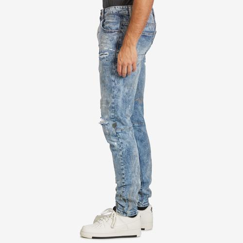 Left Side View of Smoke Rise Men's 5 Pocket Relaxed Tapered Jeans