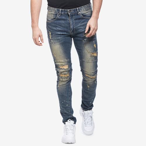 Front View of Smoke Rise Men's Slim Tapered Distressed Jean
