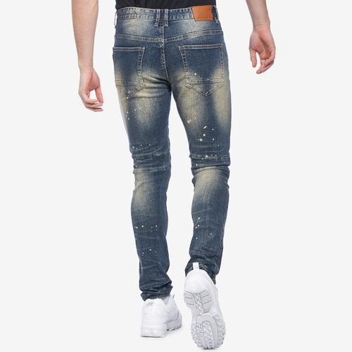 Back View of Smoke Rise Men's Slim Tapered Distressed Jean