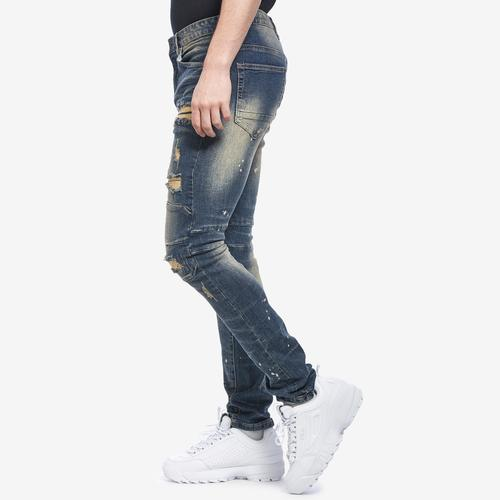 Right Side View of Smoke Rise Men's Slim Tapered Distressed Jean