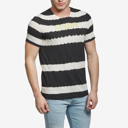 Front View of Guess Men's Tie-Dye Embroidered Logo Tee