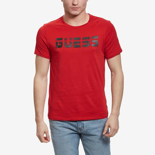 Front View of Guess Men's Racer Logo Crewneck Tee