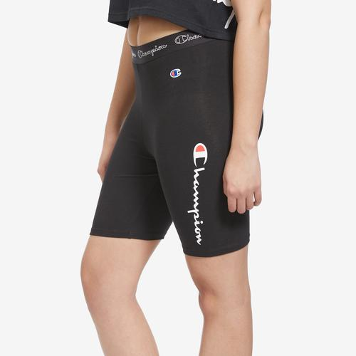 Right Side View of Champion Women's Everyday Bike Shorts, Script Logo