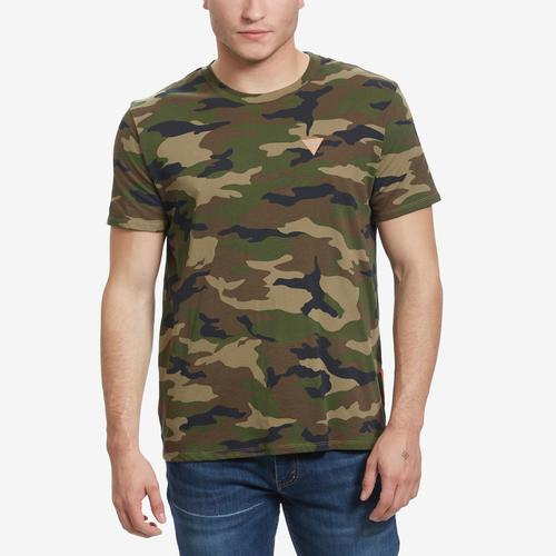 Front View of Guess Men's Camo Reflective-Tape Tee